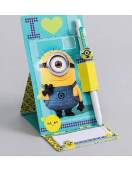 Ручка на подставке с блоком. Миньоны