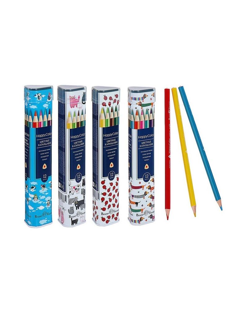 Карандаши цветные в металлической тубе, 12 цветов