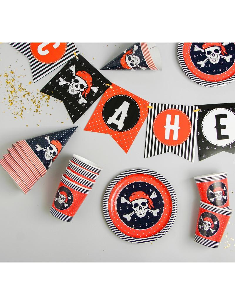 Набор бумажной посуды «С днём рождения», пиратский